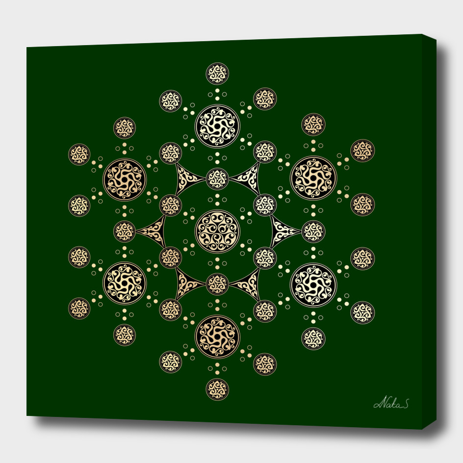 Flower of Life. Crop circle and celtic ornament.