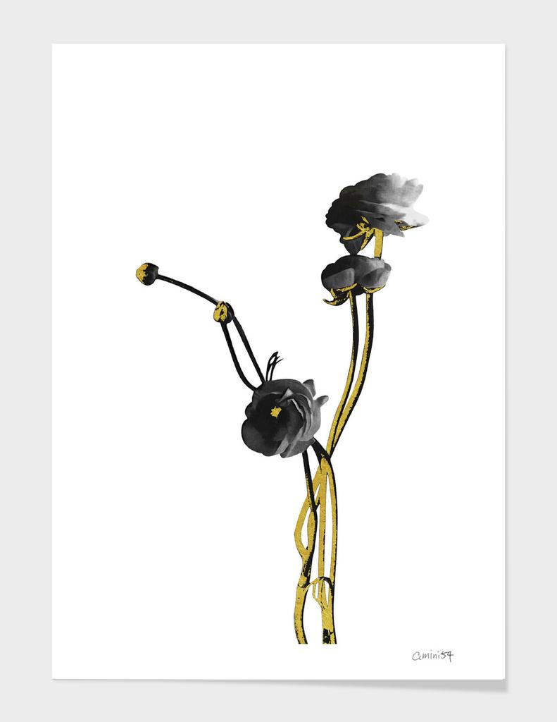 Flower Minimal Black and Gold 04