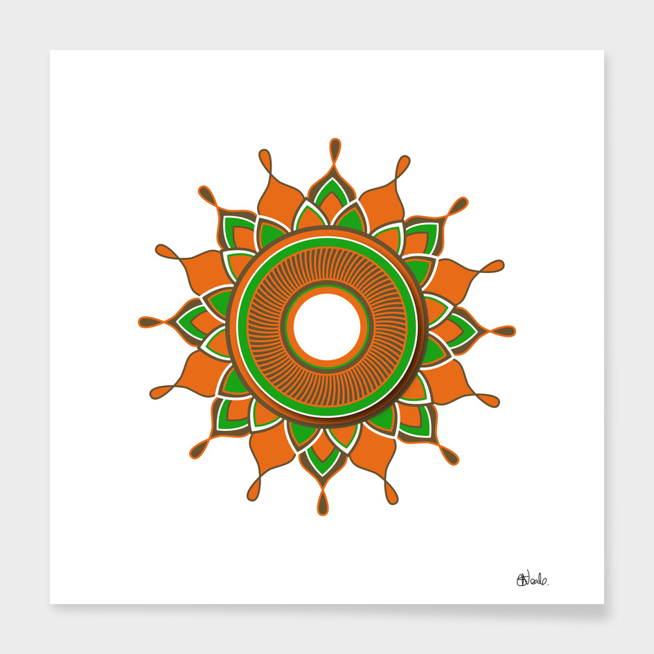 Circular pattern with orange, green and brown detail