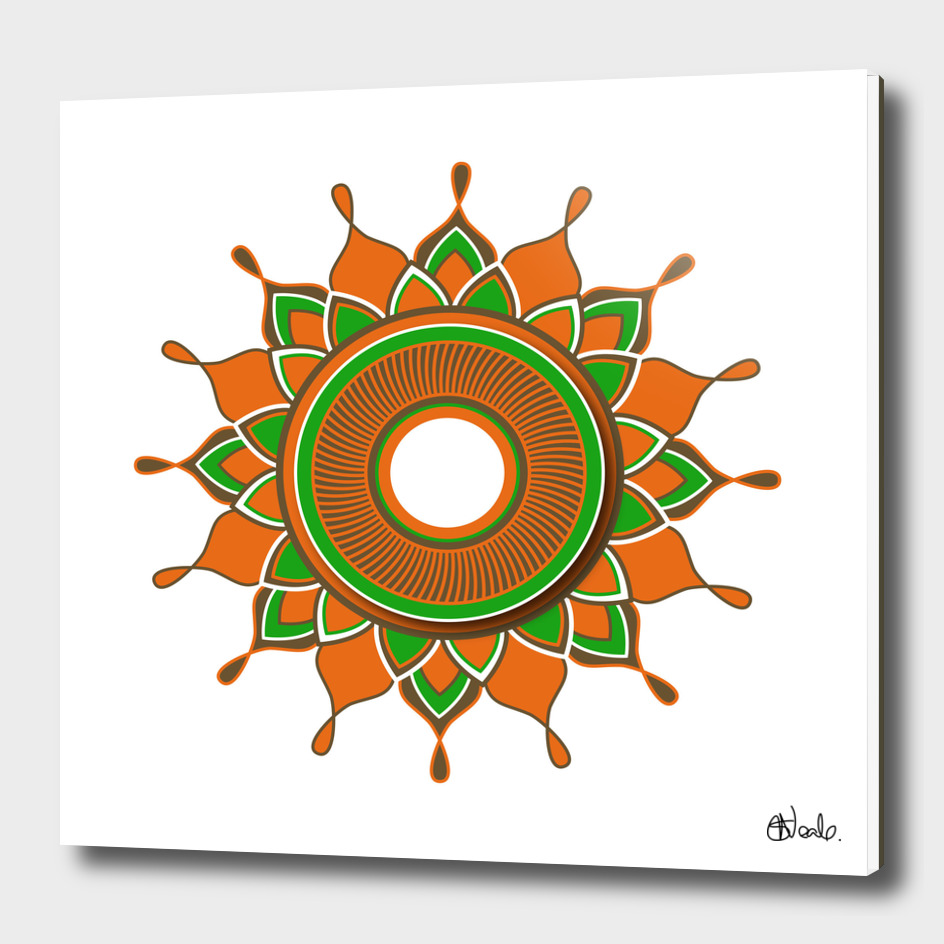 Circular pattern with orange, green and brown detail