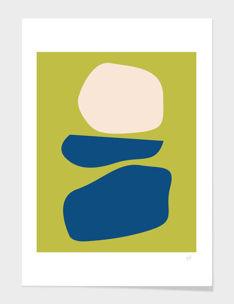 Organic Abstract Shapes in Chartreuse and Blue