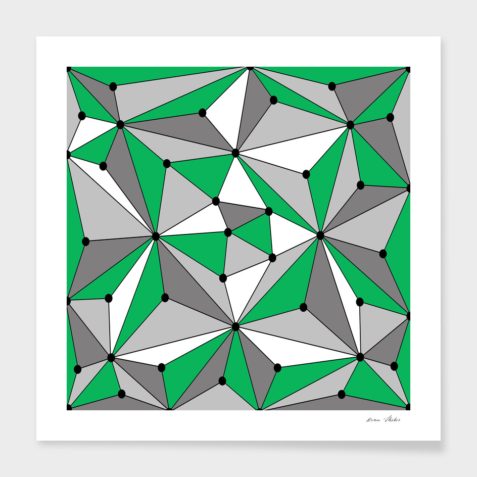 Abstract geometric pattern - green, gray and white.