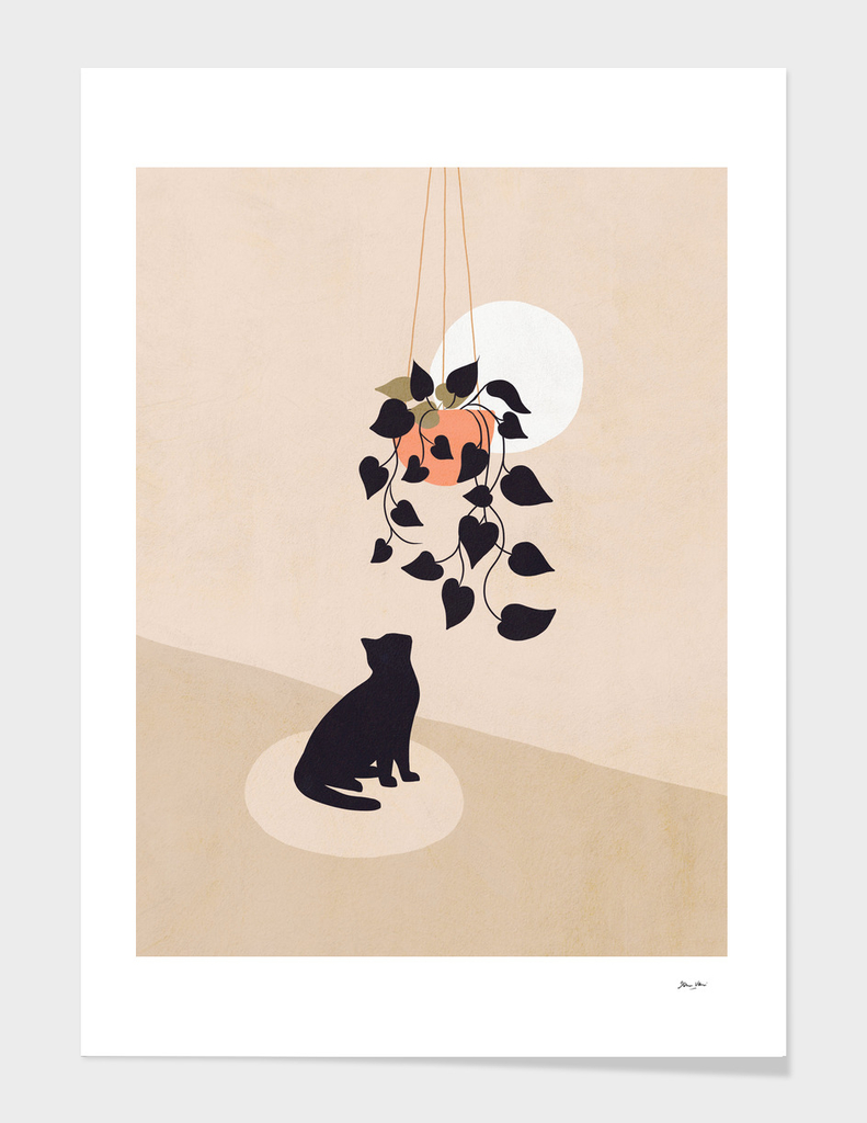 Hanging out with you forever - Cat, Plant and Moon