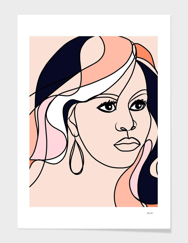 First Lady, Boss Lady - Michelle Obama Line-art Portrait