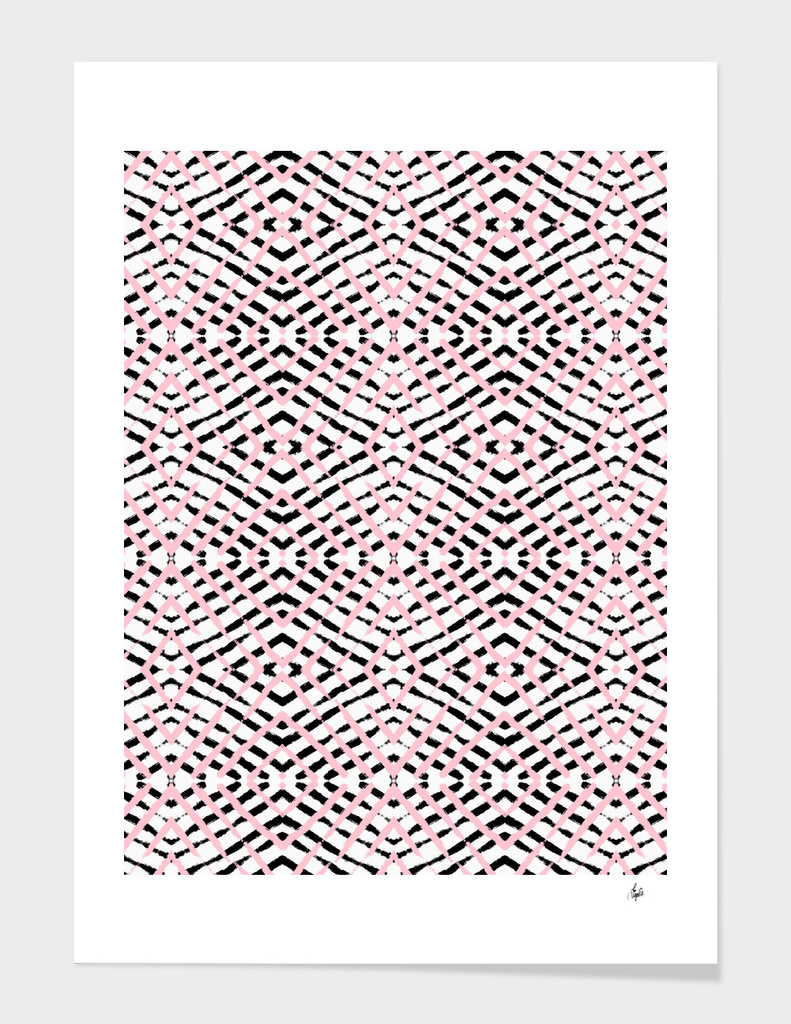 Pink and Black Geometric Stripes