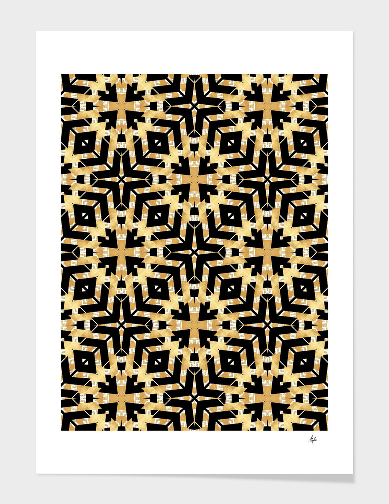Gold Foil and Black Art Deco Pattern