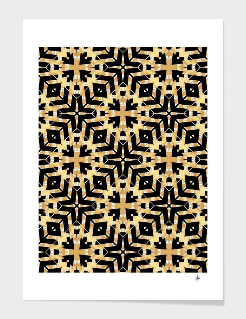 Gold Foil and Black Art Deco Pattern