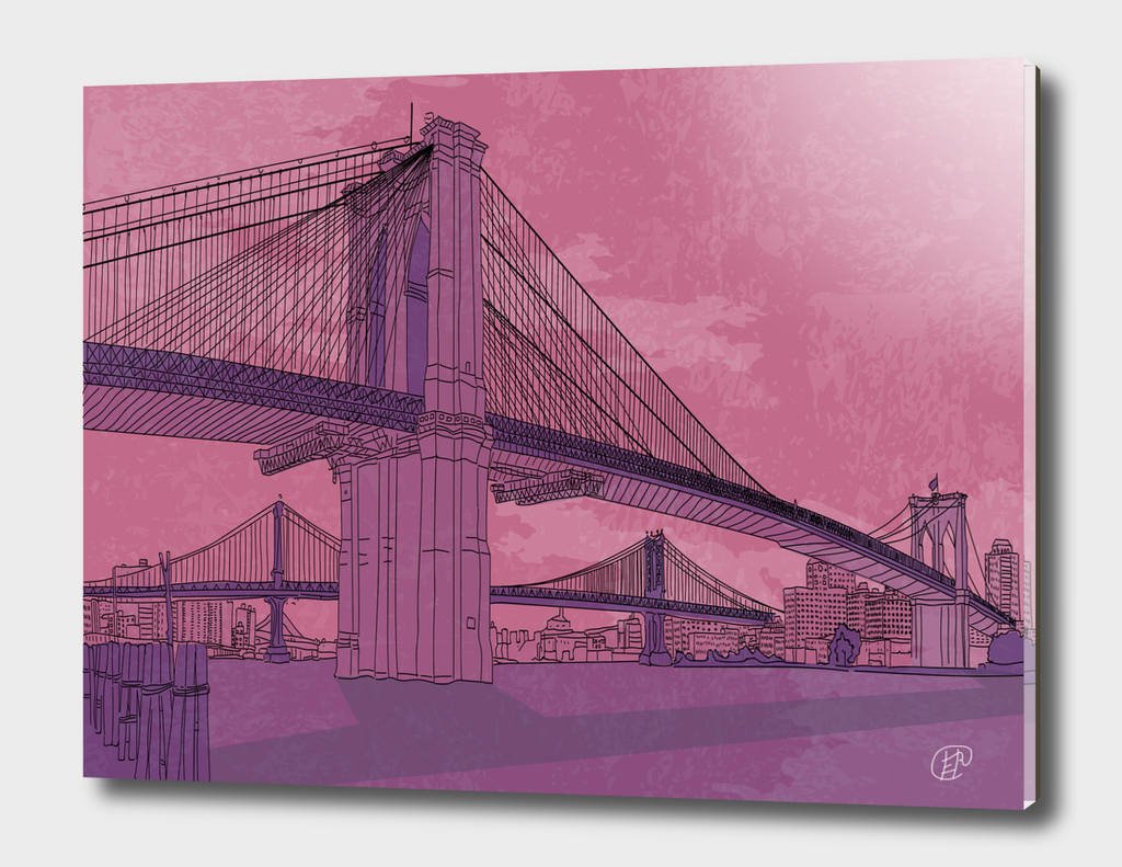 Brooklyn Bridge. Architecture. Drawing lines.