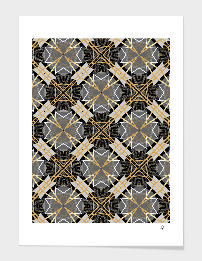 Gray and Gold Abstract Geometric
