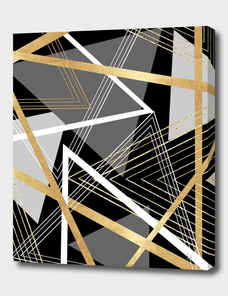 Black and Gold Abstract Geometric