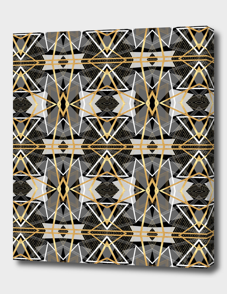 Gray and Gold Abstract Geometric II