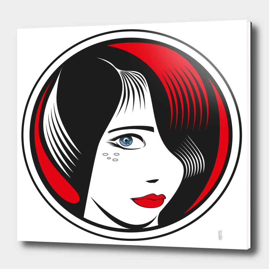 Red and Black circle girl portrait