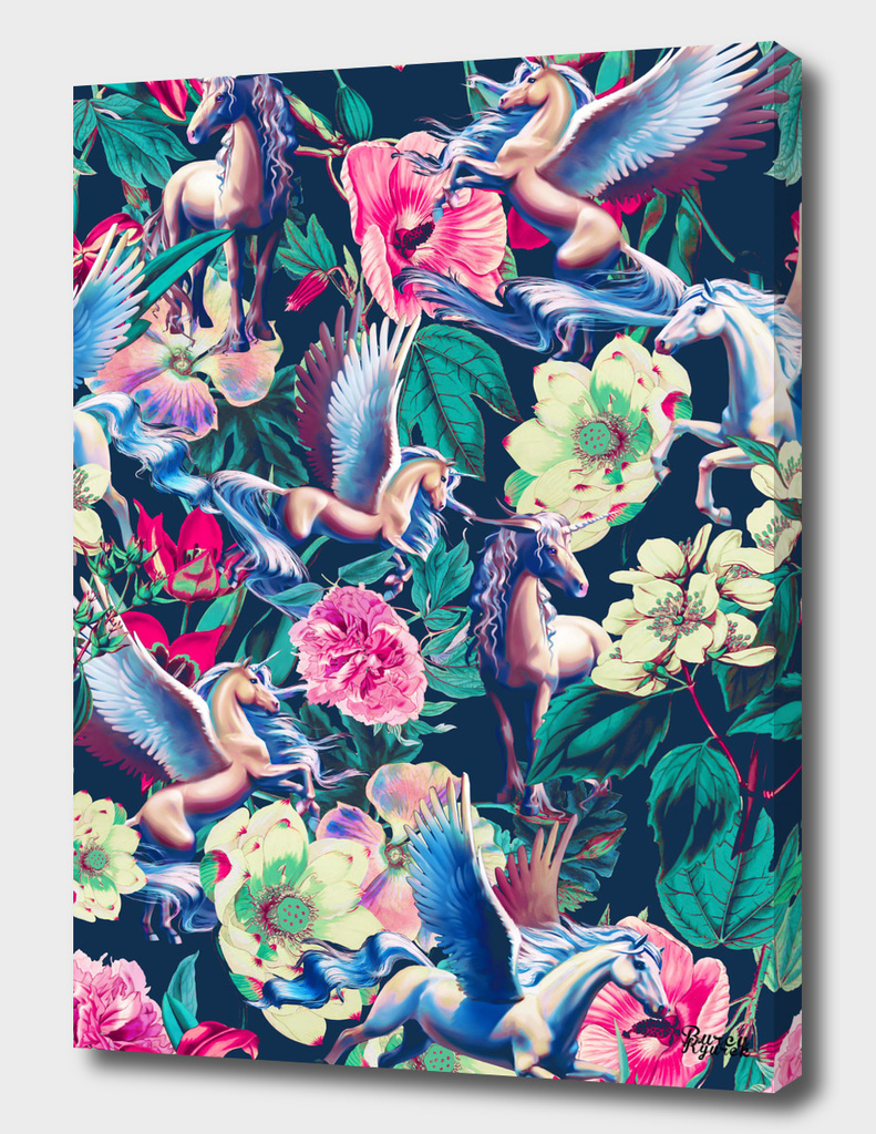Unicorn and Floral Pattern