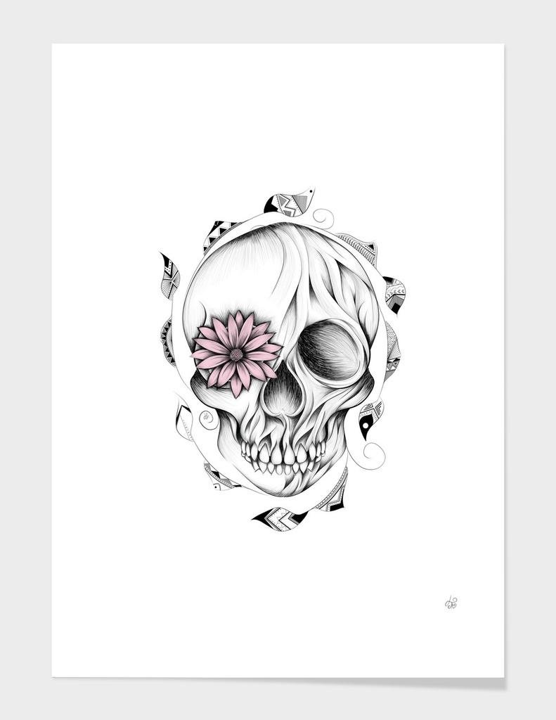Poetic Wooden Skull Pink Version
