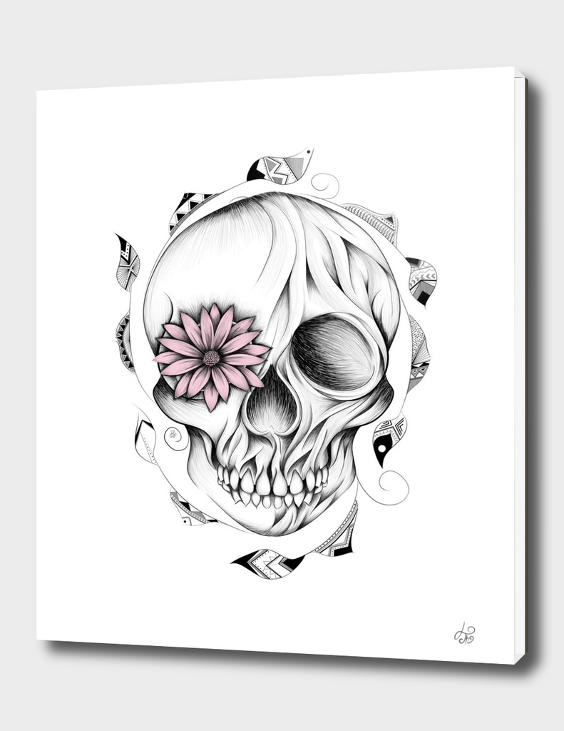 Poetic Wooden Skull Pink Version