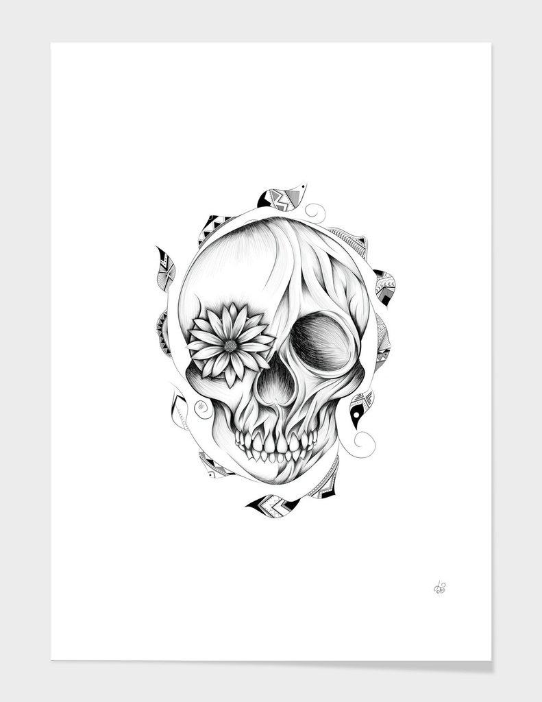 Poetic Wooden Skull B&W