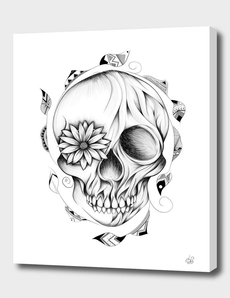 Poetic Wooden Skull B&W