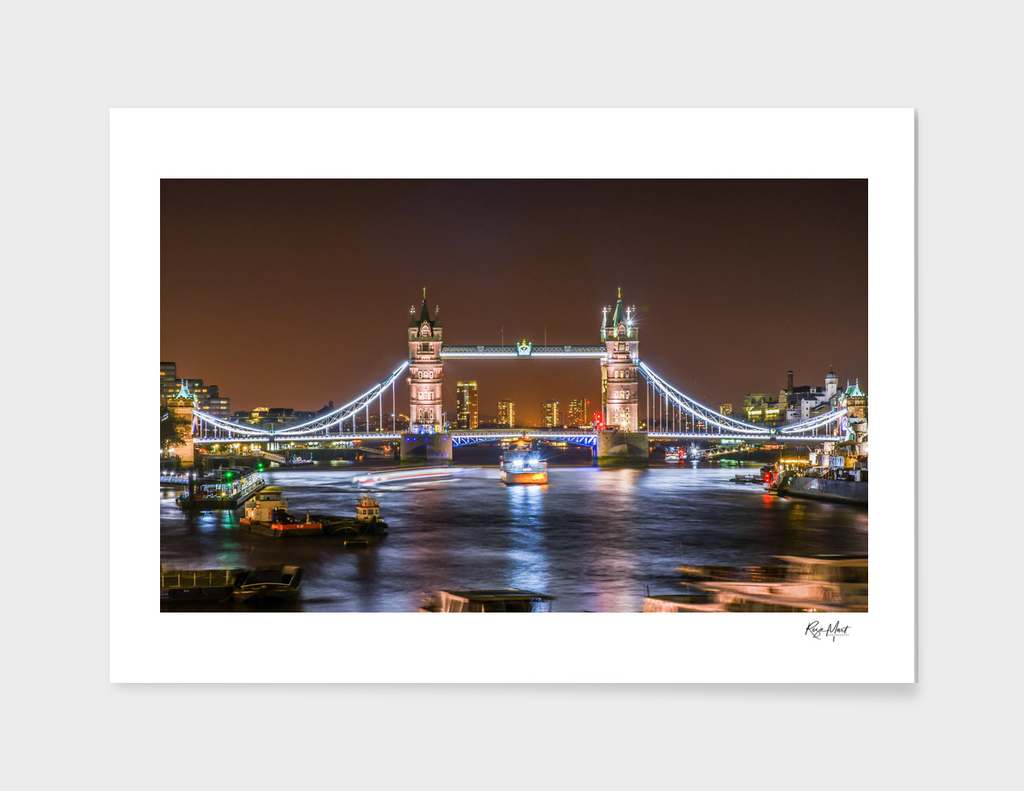 Tower bridge over river in the city of London
