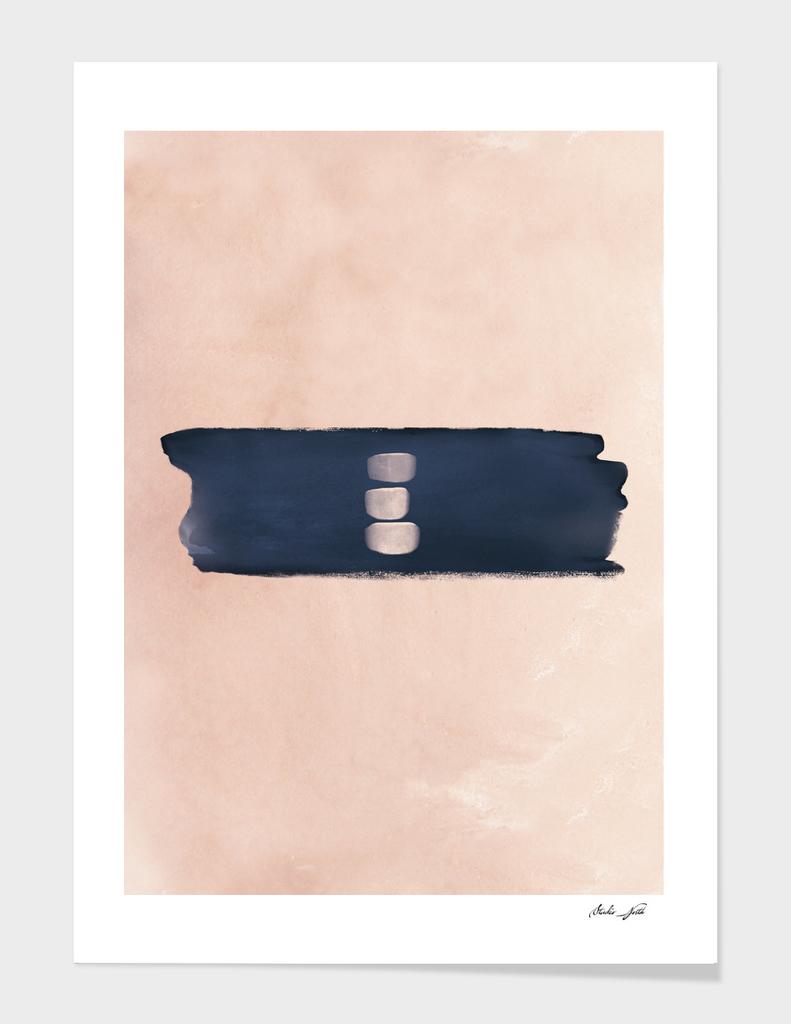 Blush & Navy Shapes II Contemporary Art Study