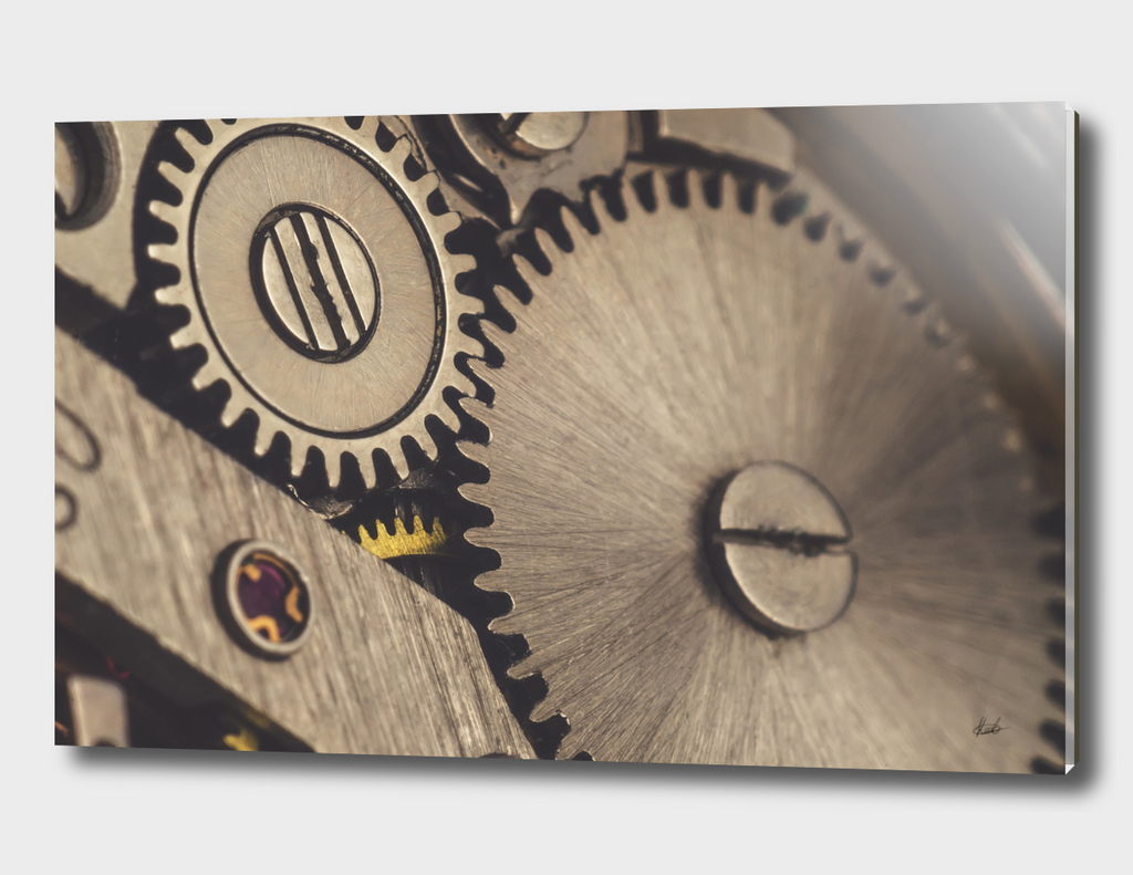 Steampunk-inspired illustration of gears and cogwheels