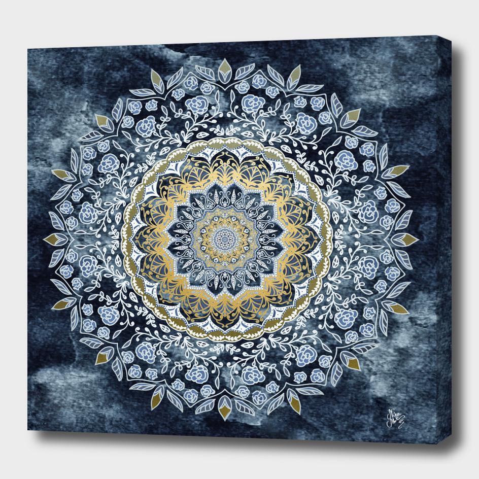 Blue floral mandala