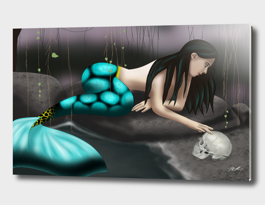 Mermaid Playing with Skull