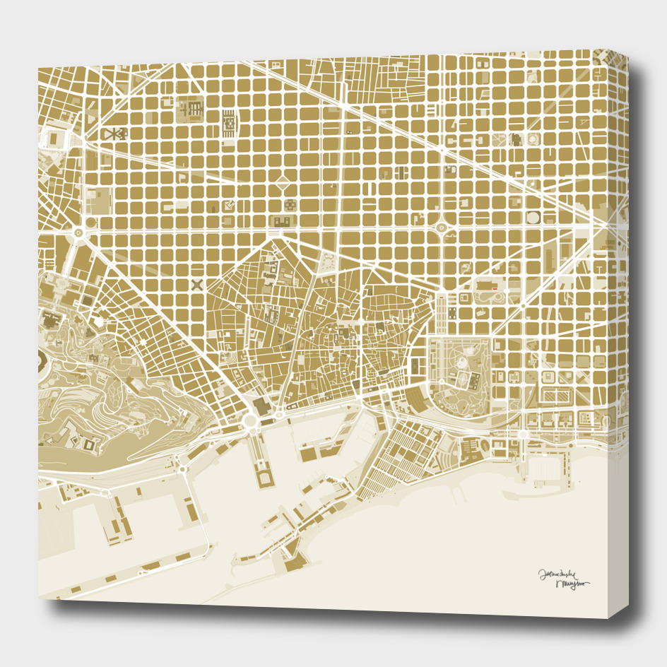 Barcelona city map gold