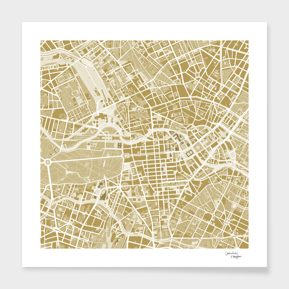 Berlin city map gold