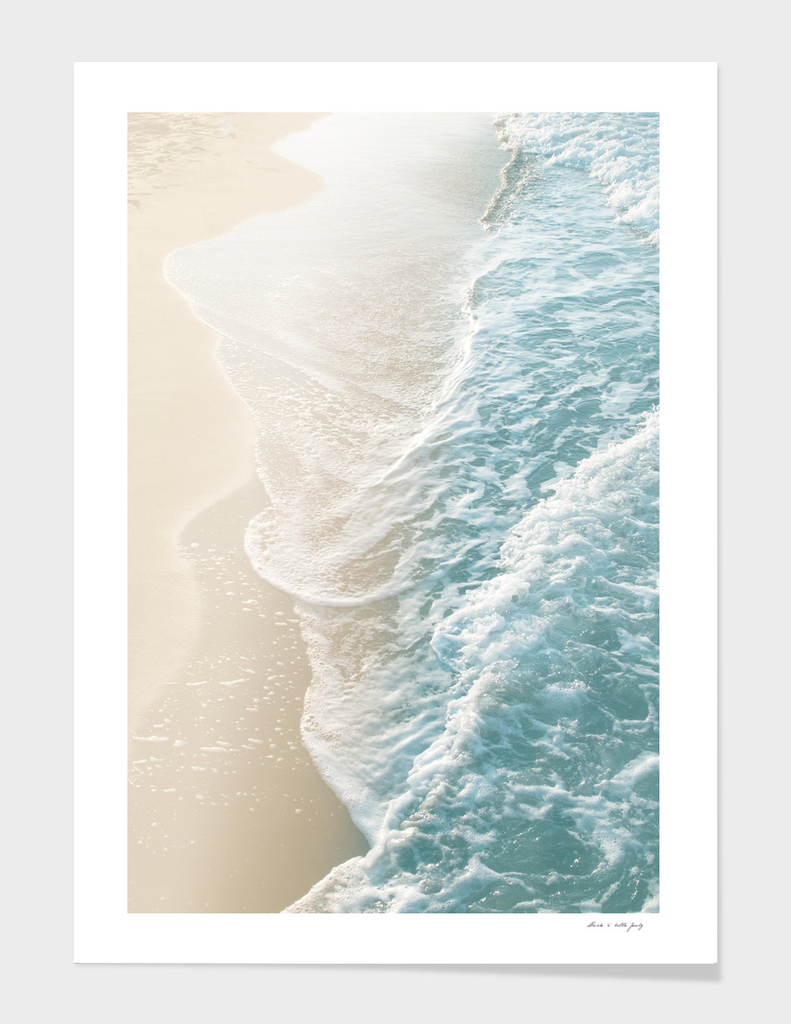 Soft Teal Gold Ocean Dream Waves #1 #water #decor #art