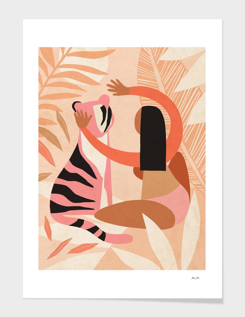 The Fearless Hug - Girl and Tiger #modernabstract