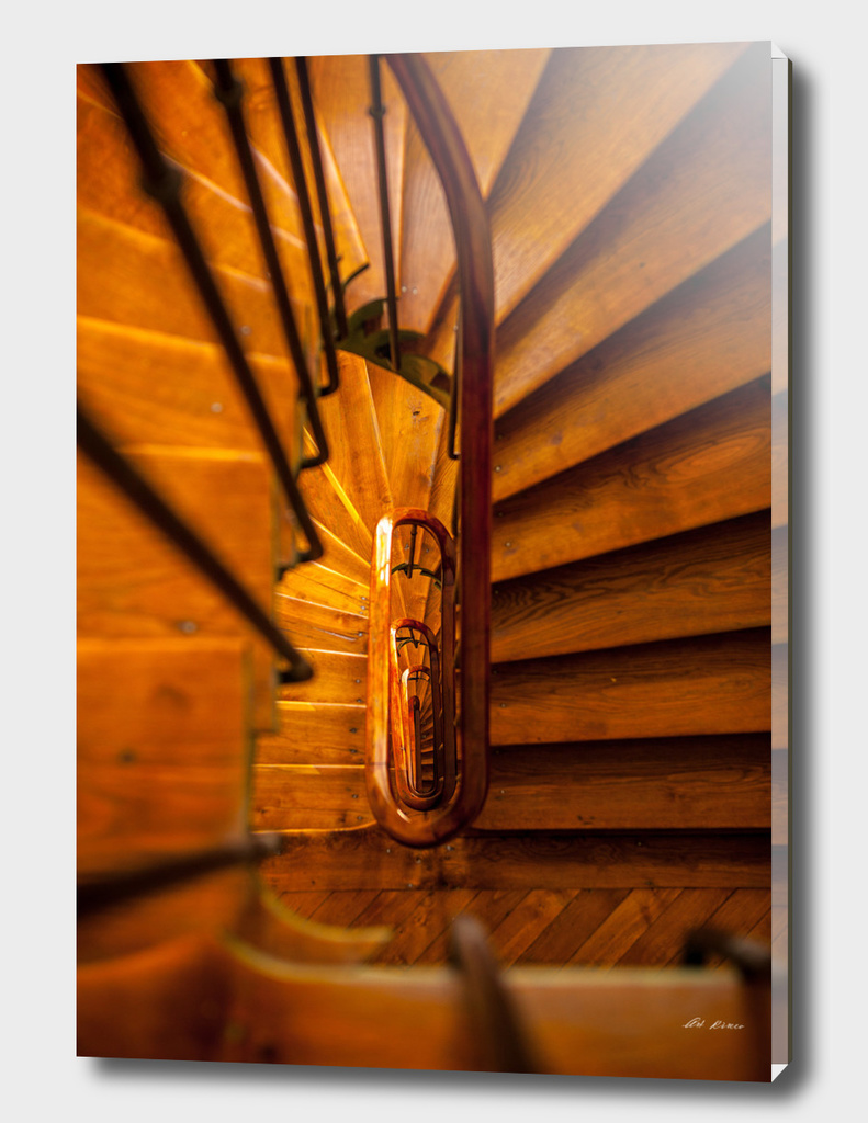 Wooden spiral staircase.