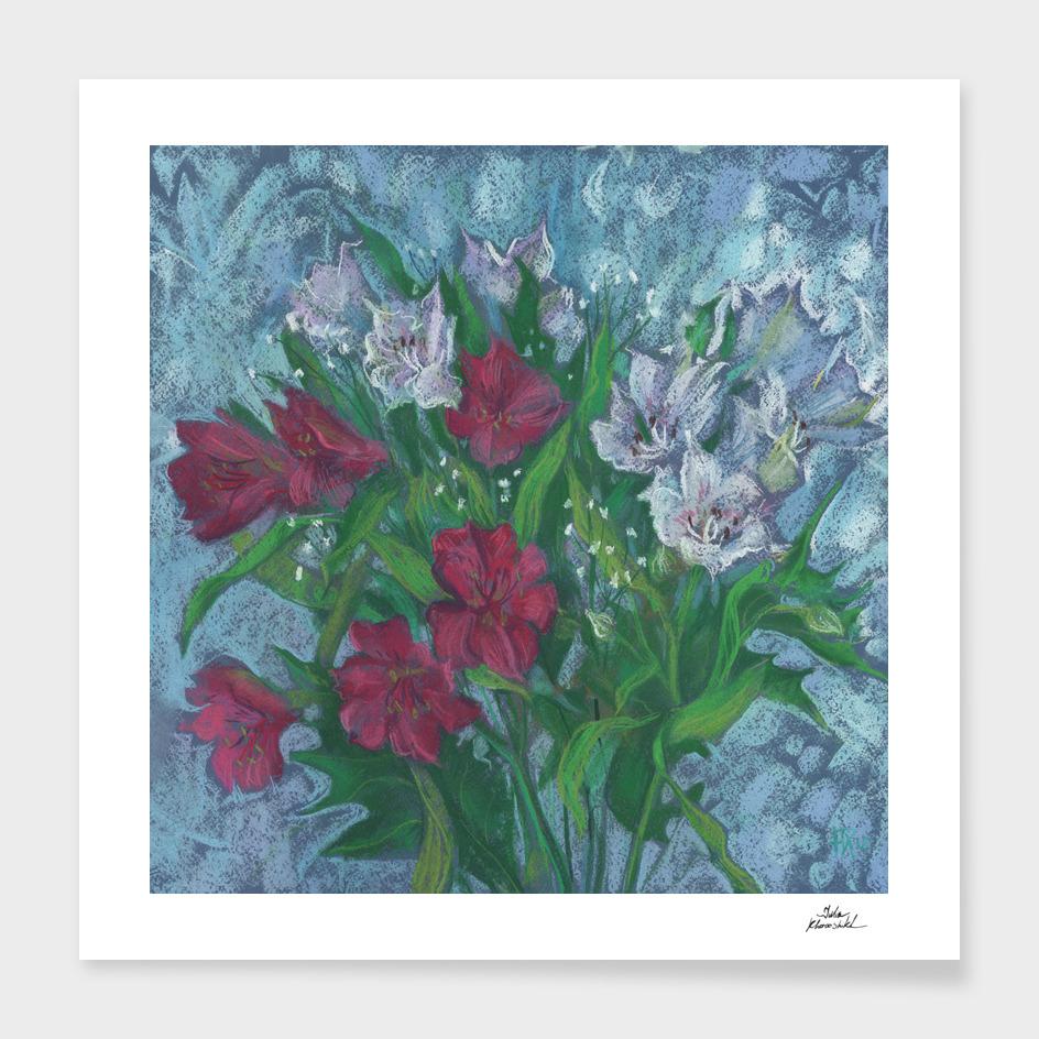 Peruvian Lilies, Alstroemeria,  Floral Art, Pastel Painting