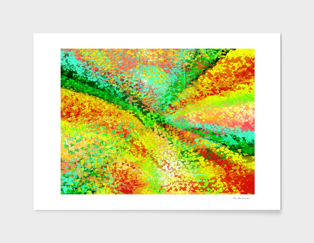 geometric triangle shape abstract in yellow green red