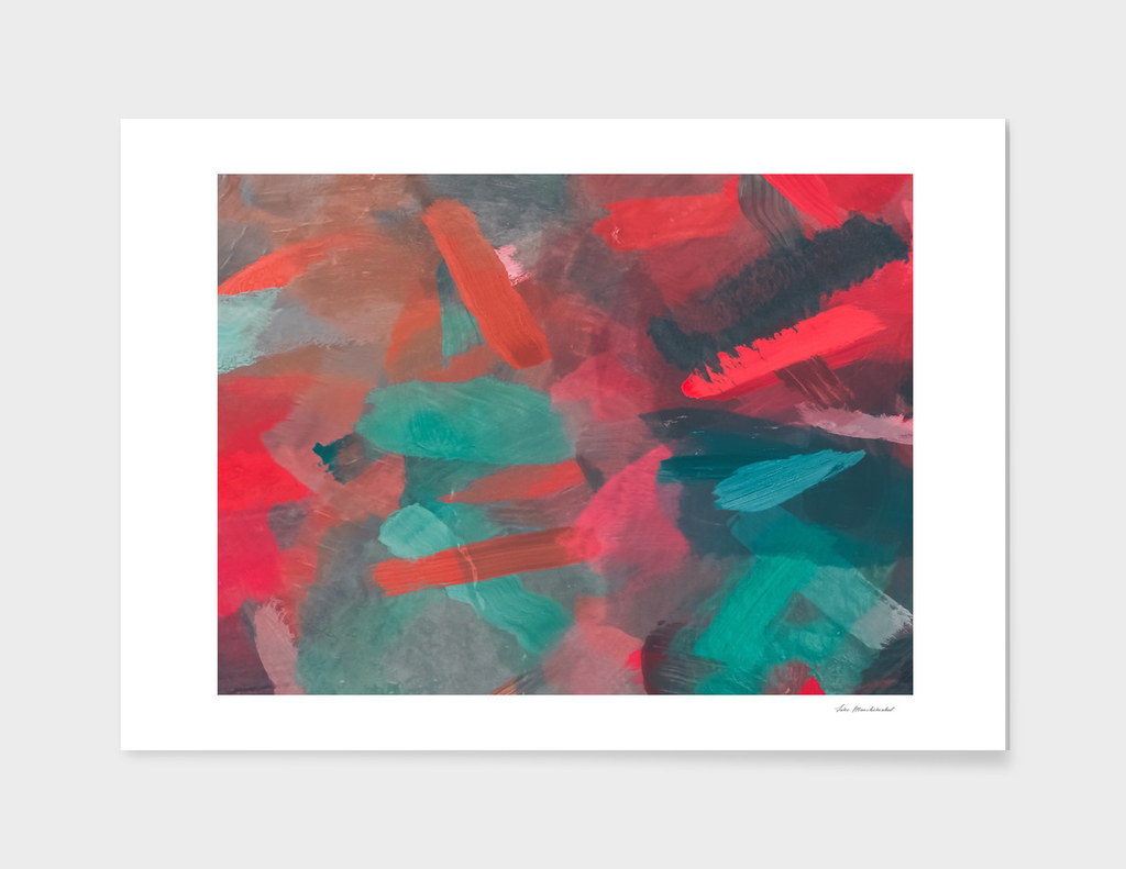 splash painting texture abstract background in green red