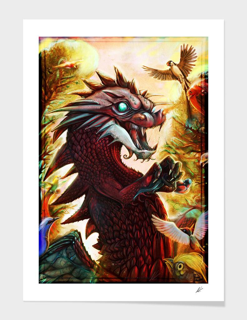 Dragon vs bird-of-paradise