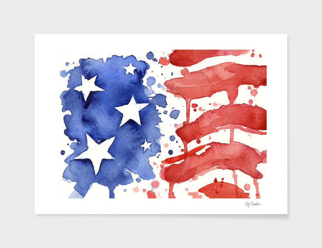 American Flag Watercolor Abstract Stars and Stripes