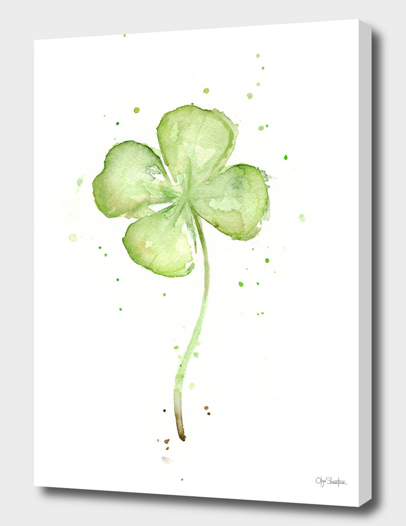 Four Leaf Clover Lucky Charm Watercolor
