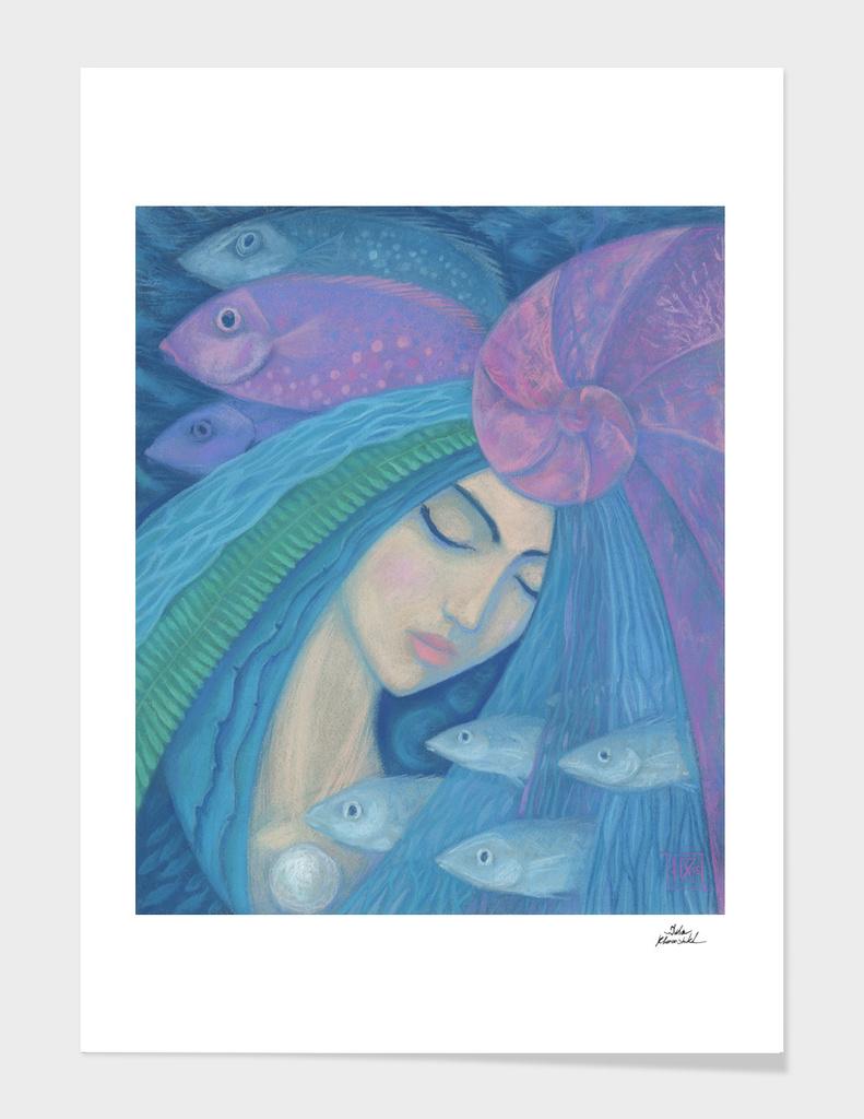 Pearl, Mermaid Fish Seashell, Underwater Fantasy, Blue Pink