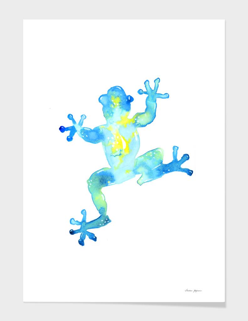 Blue Watercolor Frog