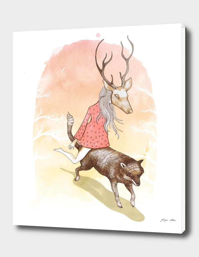 wolf&deer