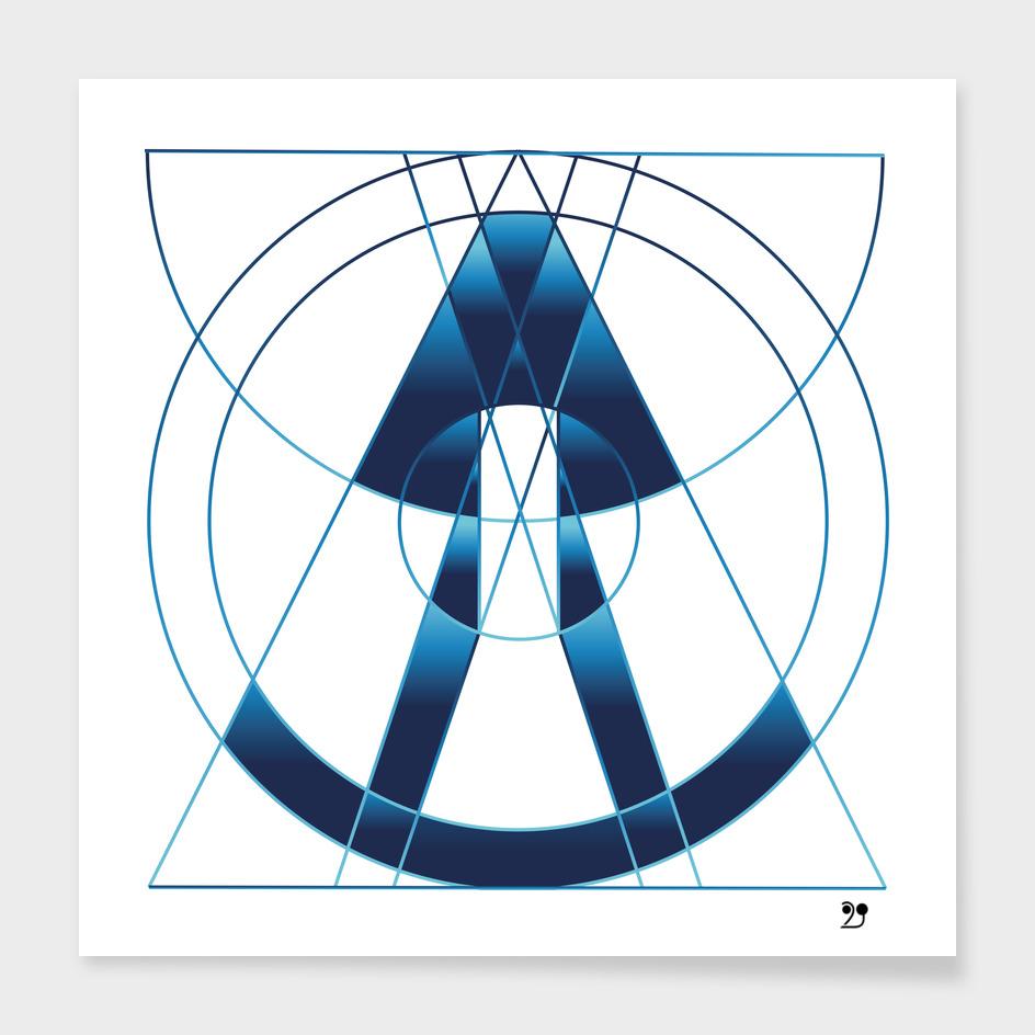 Blue spaceship Galaxy space geometric