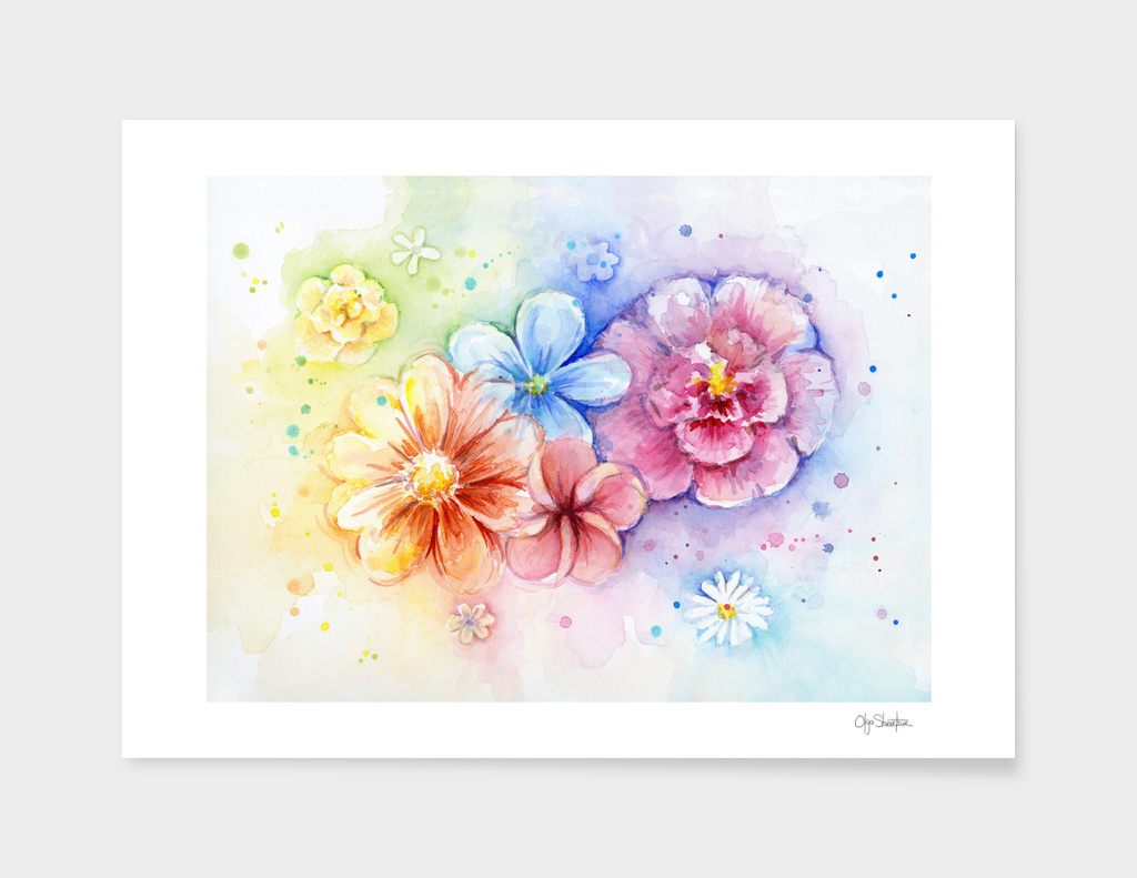 Watercolor Rainbow Flowers