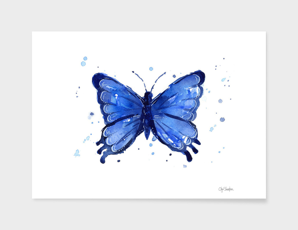 Blue Watercolor Butterfly