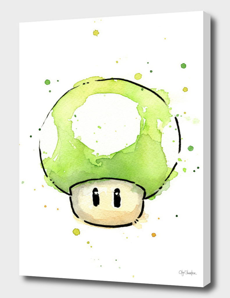 1UP Mushroom Watercolor