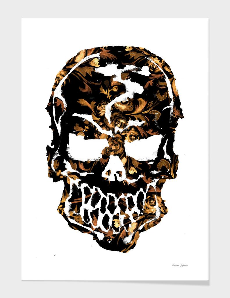 Gold Rose Skull