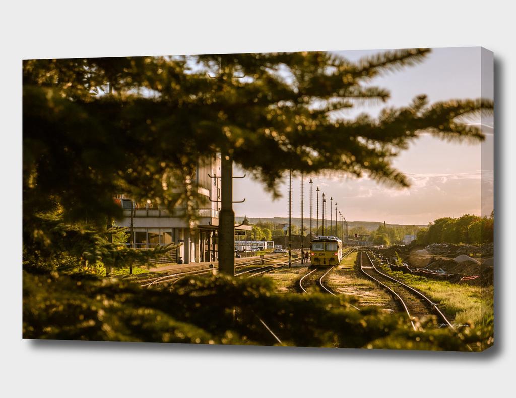 Sunset on a train station