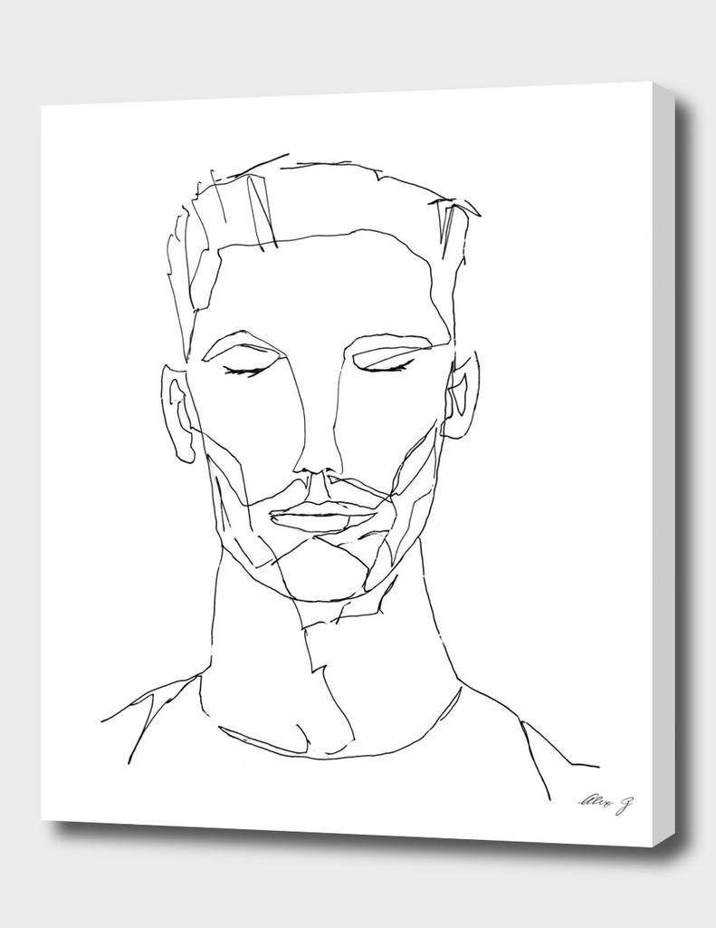 One-line black ink portrait