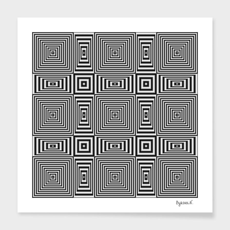 Flickering geometric optical illusion