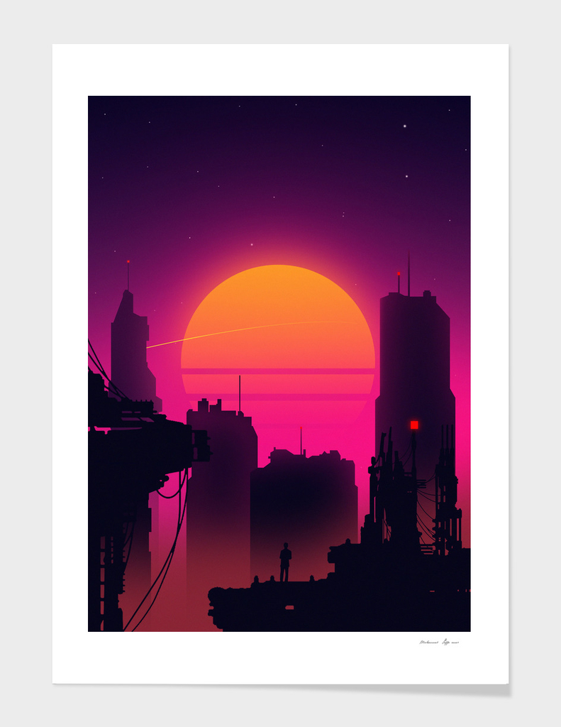 Retrowave City sunset