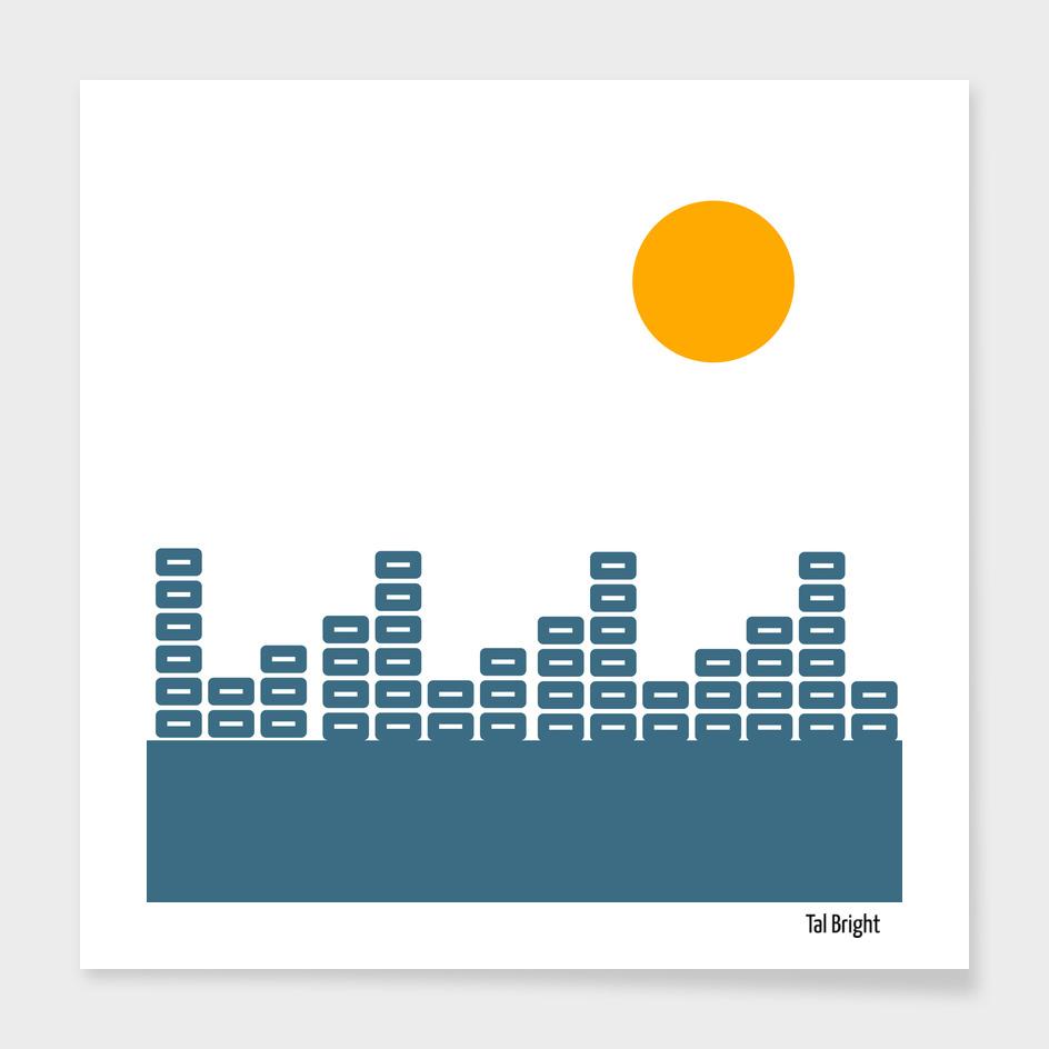 Soundwave Sunset - Minimalist geometric art